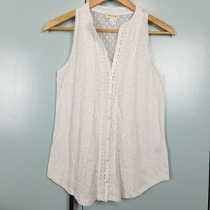 Anthropologie lace white tank top size XS -N2